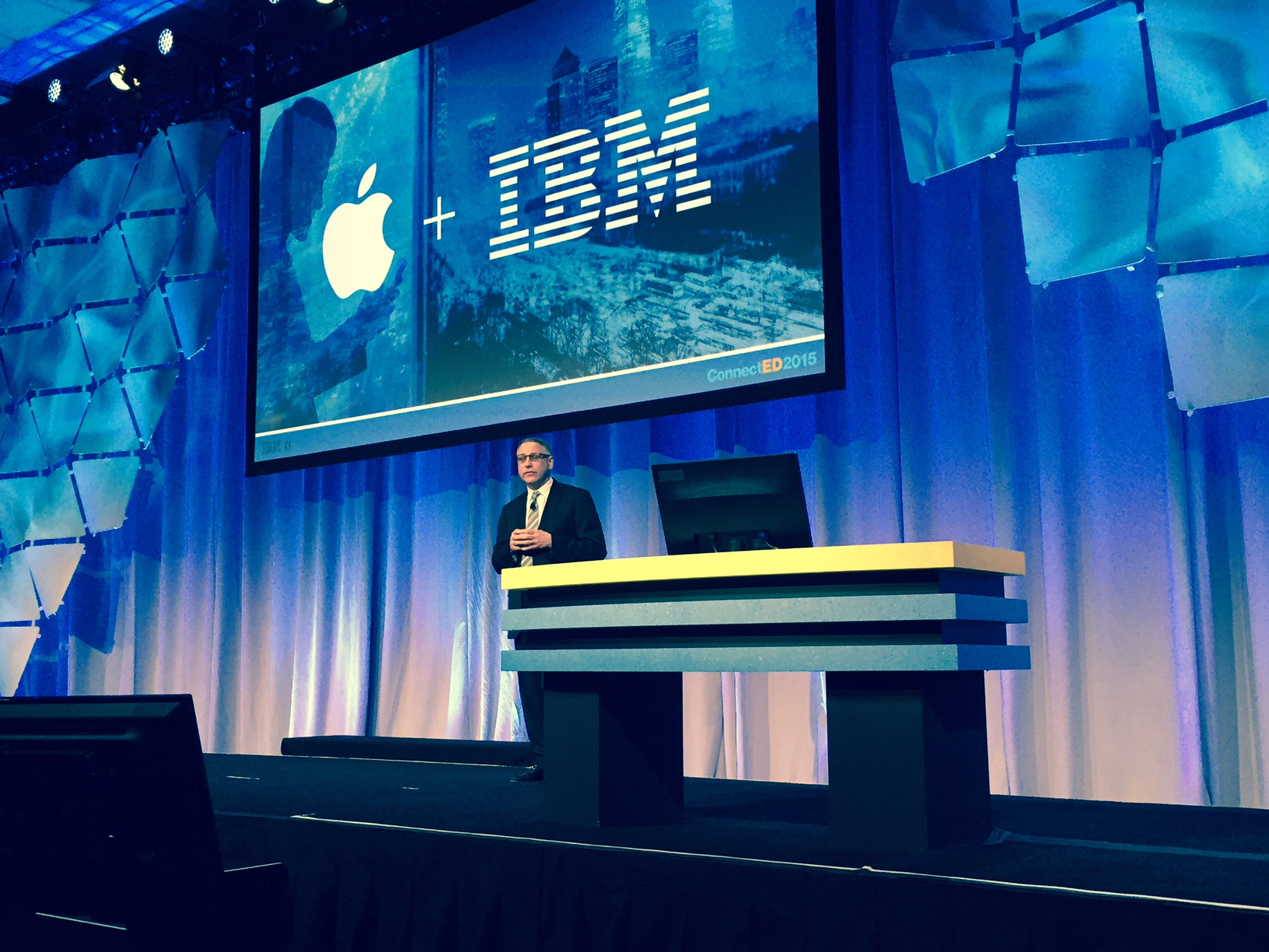 Jeff Schick on stage at IBM ConenctED 2015
