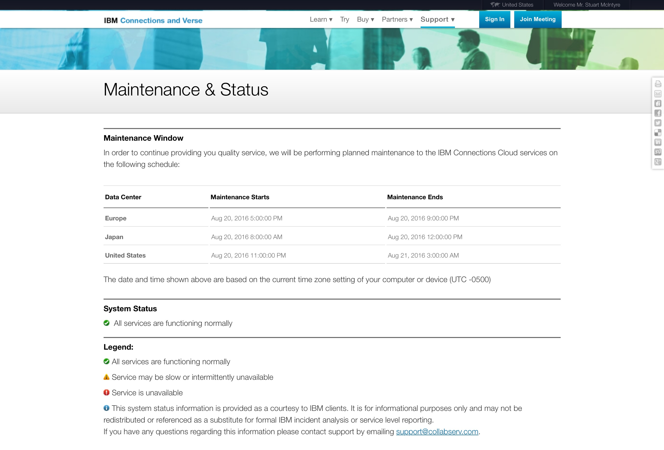 IBM Connections Cloud maintenance screenshot